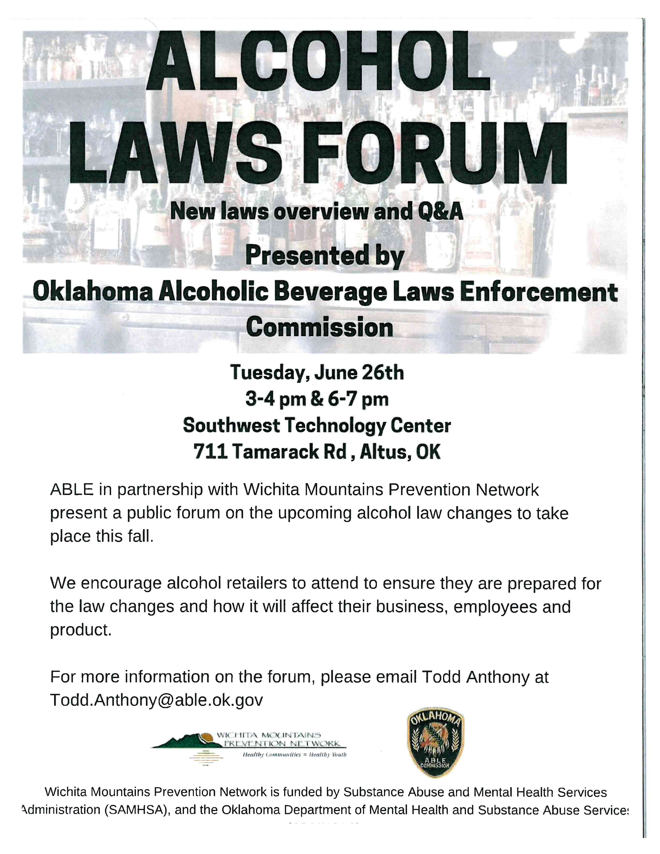 Alcohol Laws Forum – Altus Chamber of Commerce