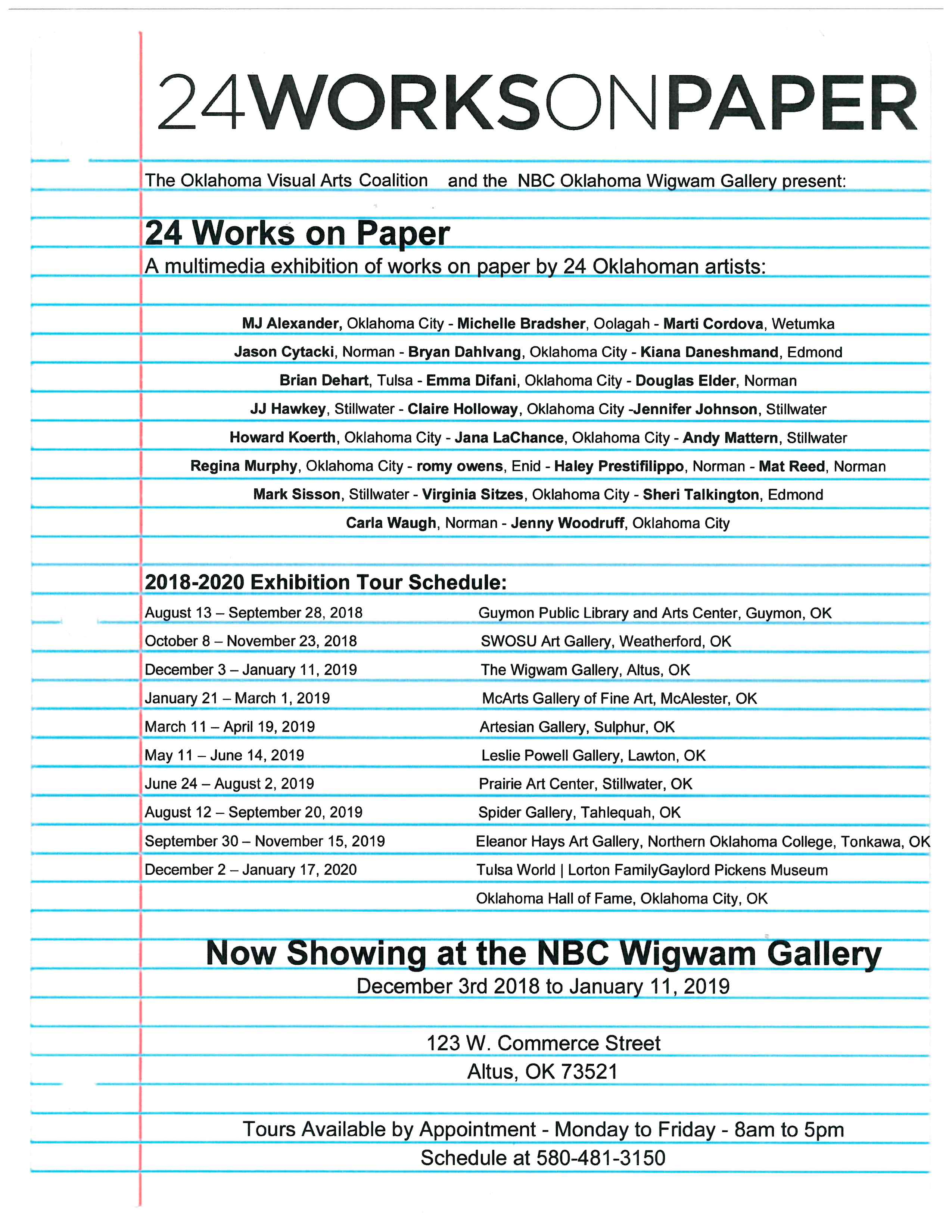 24WORKSONPAPER @ NBC Wigwam Gallery